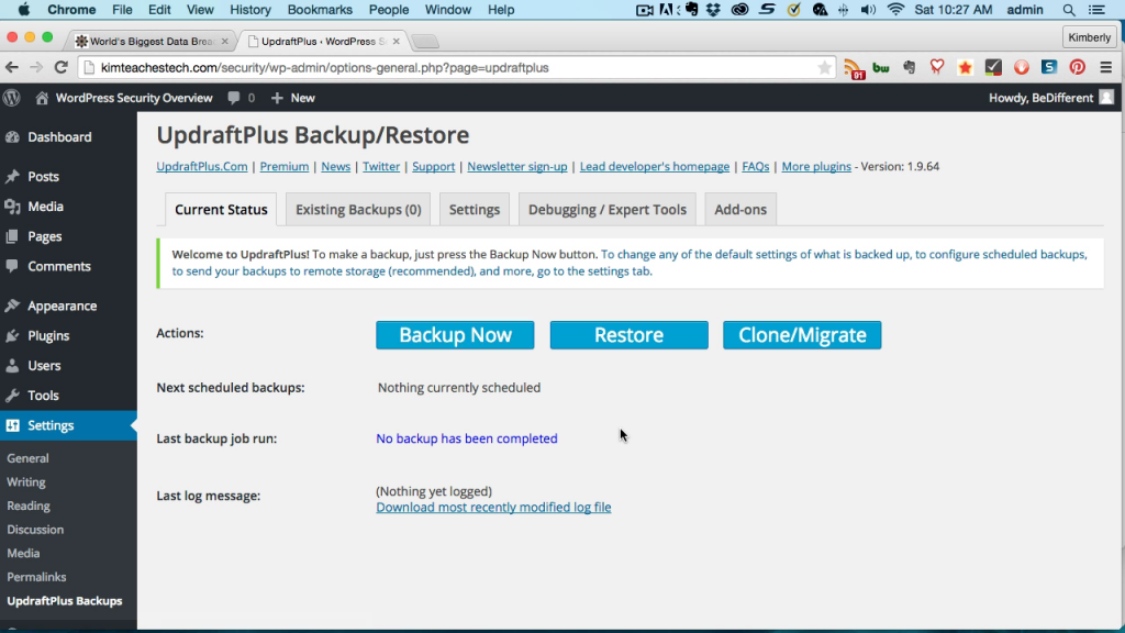 Screen grab of the Updraft Plus WordPress Backup plugin dashboard