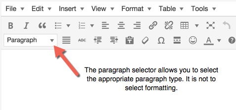 The WordPress toolbar selection for paragraph type should not be used for formatting.