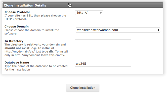 Form with settings to configure in order to clone a WordPress website.