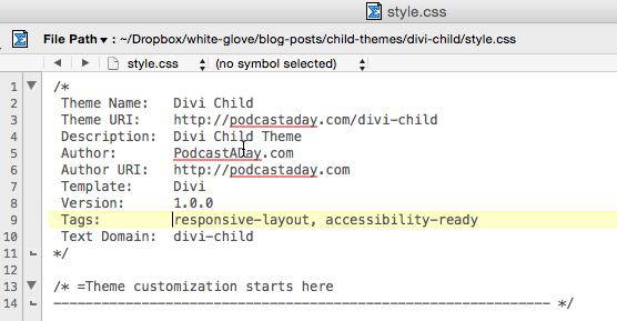 Child Style.css file