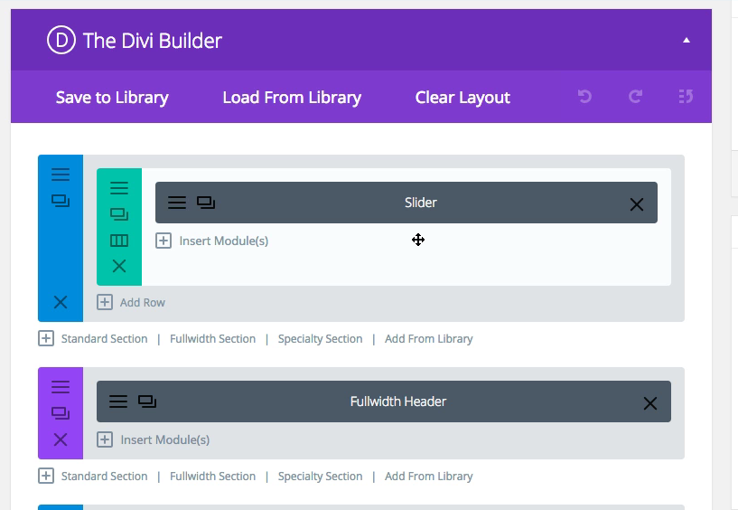 The Divi builder provides sample layouts for easy website design.