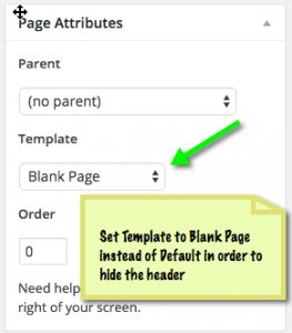 Select Blank page instead of the default template to create a sales page that doesn't display the theme's header.