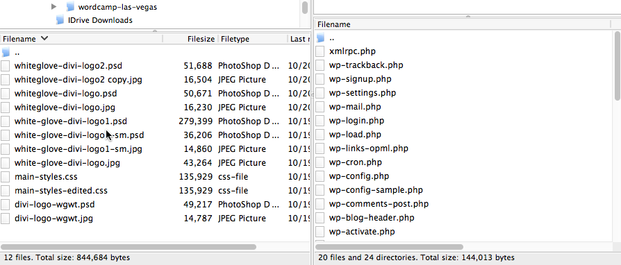 The FileZilla directory and file listing display
