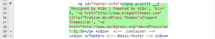 Display footer.php area we are removing for our child theme.