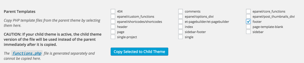 Screen grab of Files tab in Child Theme Configurator. Allows you to copy files to your child theme.