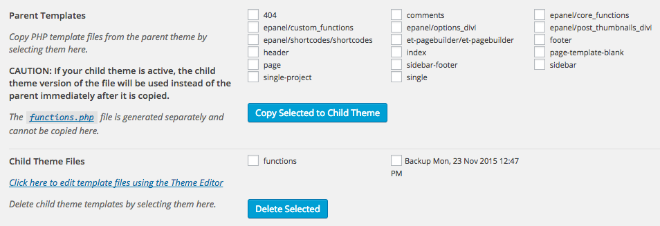 Screen grab of the Files tab in the Child Theme Configurator WordPress plugin, shows top portion displaying the files