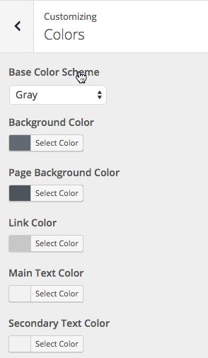 Screen grab of Twenty Sixteen WordPress theme color customization options.