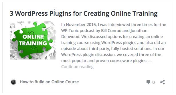 Screen grab of WordPress 4.4 post embed.