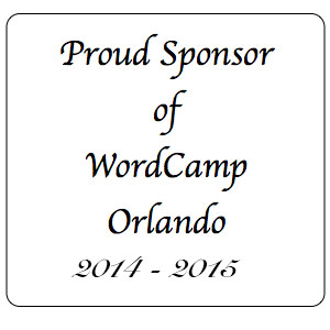 Text box displaying that White Glove Web Training was a WordCamp Orlando Sponsor 2014-2015