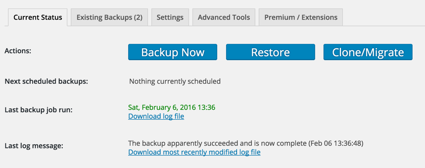 Screen grab of the Backup and Restore buttons for UpdraftPlus.