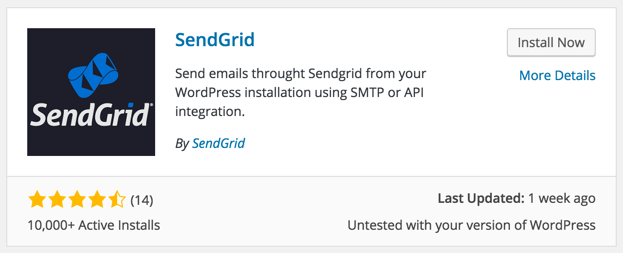 Screen grab of SendGrid plugin listing in WordPress repository.