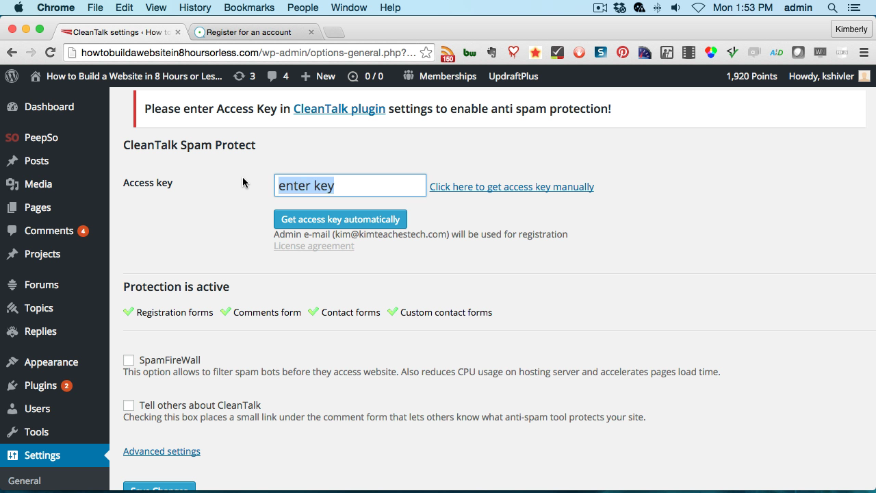 Screen grab of CleanTalk plugin access key setting page.