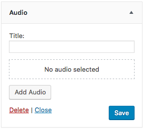 Screen grab of WordPress 4.8 audio widget