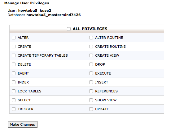 Screen grab of the Add Privileges to Database User Screen.