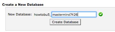 Screen grab of the Create Database User Screen.